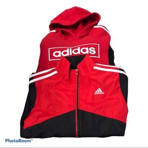 Boys adidas red hoodie and windbreaker size 7